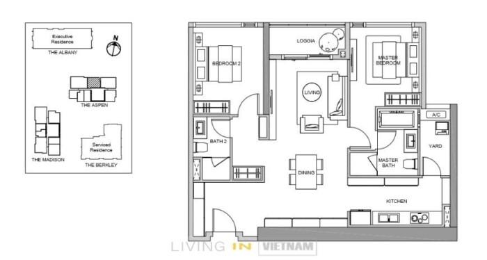 Gateway Thao Dien 2 bedrooms layout