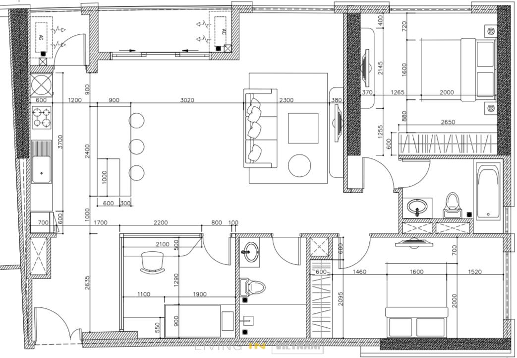FLoor Plan 3 bedrooms at Saigon Royal Residence