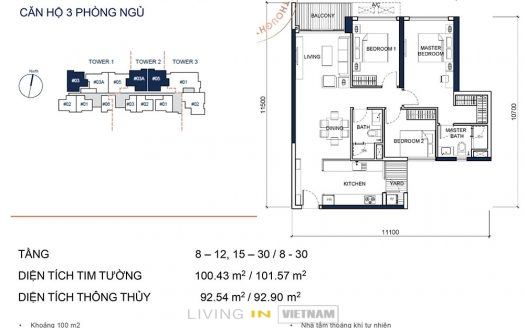 ID: 1998 | Q2 Thao Dien | Unfurnished, 3 Bedroom apartment 1